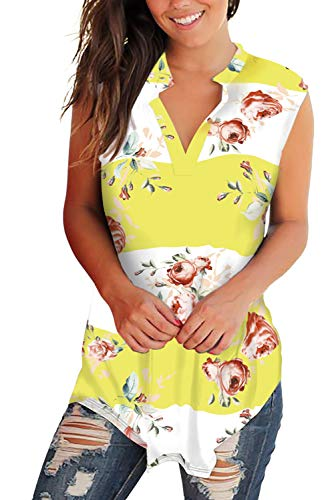 Rose Yellow T-shirt - V Neck Tops for Women Floral Sleeveless T-Shirts Loose Fit Yellow-White S