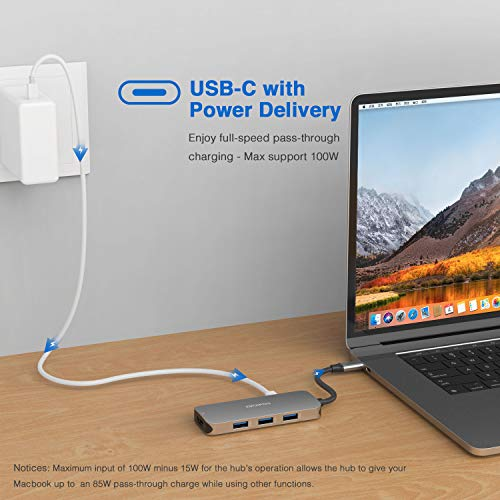7 IN 1 USB C Hub Adapter for MacBook Pro 2019/2018/2017, MacBook Air 2018/2019 and More with 4K HDMI,3 USB 3.0 Ports, 100W Power Delivery and SD Micro SD Card Reader