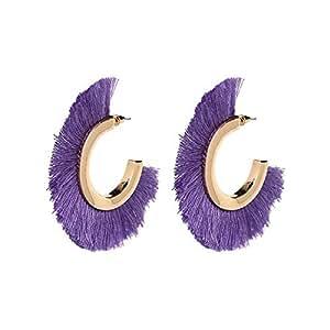 Vintage Rainbery Bohemian Cotton Colorful Tassels Earrings For Women