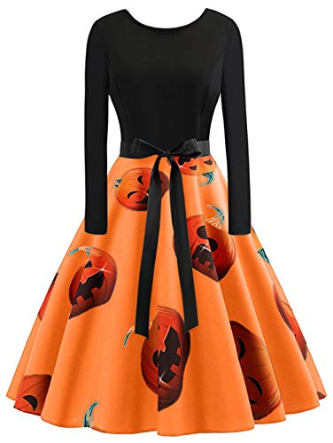 KCatsy Plus Size Pumpkin Print Halloween Dress Orange ()