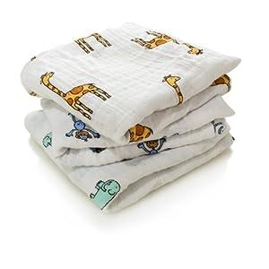 aden + anais - Langes Bébé Musy,Ensemble de Langes en Mousseline 100% Coton pour Bébé, Multi usages, adapté pour les Nouveaux-nés, pour Fille et Garçon, Multicolore, 70 x 70 cm, Lot de 3 11