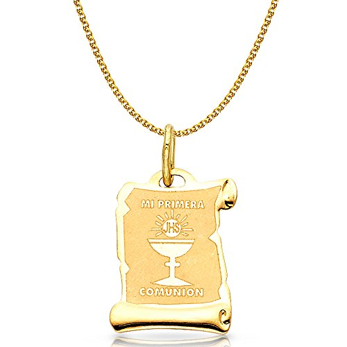 14K Yellow Gold Communion Charm Pendant with 1.7mm Flat Open Wheat Chain Necklace - 22