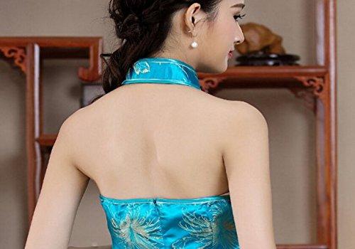 Long en Epaule Bleu XueXian Chinois Soire Brocart Style de Qipao Nu Robe Femme Cheongsam Elgant TM nqgFOX