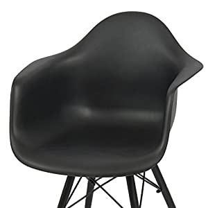 Modern Molded ABS Plastic Dining Chair Wooden Dowel Legs Posture Support Backrest Design Innovative Side Chair - Set of 2 Black Seat/ Black Finish Wooden legs #1442