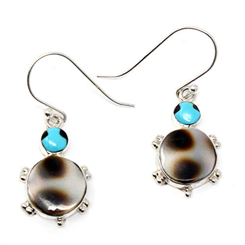 - Zuni Silver Turtle Earrings Featuring Imitation Tortoise Shell, Turquoise & Jet By Qualo | 7/8