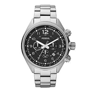 Fossil Sport CH2800 - Reloj analógico de cuarzo para hombre, correa de acero inoxidable color plateado (cronómetro)