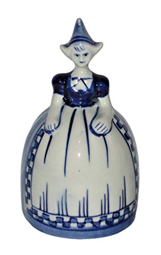 - Delft Vintage Blue Holland Hand Painted Dutch Woman 4 x 2 1/4 Inch Porcelain Bell