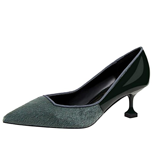 Women's Pumps Shallow Green Pointed Binying Toe Stiletto Mouth High Heel 4dP4qgf