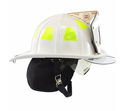 MSA 1044DDW Cairns Fire Helmet with Defender, Deluxe Leather, Crown Pad, PBI/Kevlar Earlap, Nomex Chinstrap with Quick Release, Postman Slide and 6