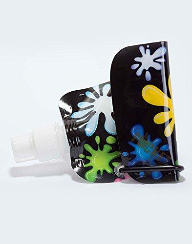 Pocket Bottles Zees Inc Cb1004 Paint Splash On Foldable Bottle 16 Oz Black Zee/'s Creations Inc.