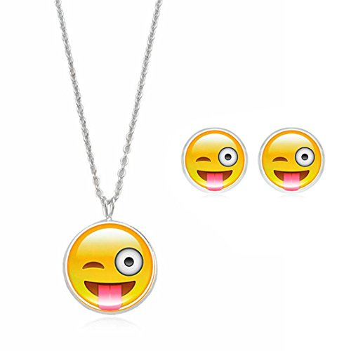 Emoji Cut Pendant Necklaces Bracelets Earrings for Womens Fashion Jewelry Set