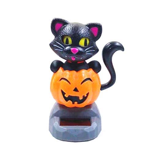 Halloween Solar Dancing Toys (Amosfun Halloween Solar Dancing Toys Pumpkin and Cat Solar Powered Car Ornament Halloween Party)