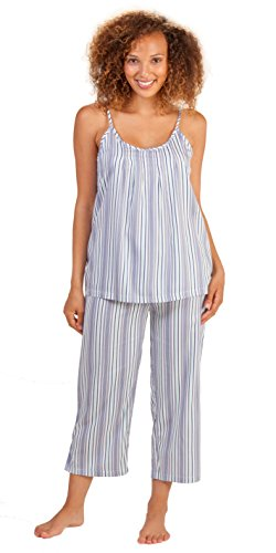 (Jockey Cotton-Rich PJ Set - Cami Top & Capri Pajamas in Maritime Stripe (Medium (8-10), White/Navy/Aqua))