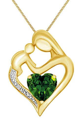 Jewel Zone US Simulated Emerald & White Natural Diamond Accent Mother & Child Heart Pendant Necklace in 14k Yellow Gold Over Sterling Silver (11/10 Cttw)