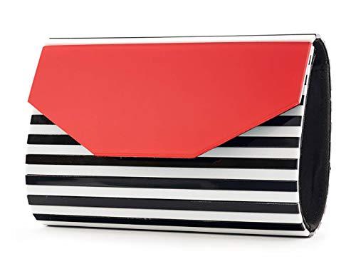 143d7ec17a5e BG-713-STRIPE-060942 Box Clutch - Red w/Black & White Stripe