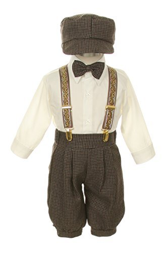 (Vintage Dress Suit-Bowtie,Suspenders,Knickers Outfit Set for Boys-Toddler, Houndstooth-Beige/Ivory, 18)
