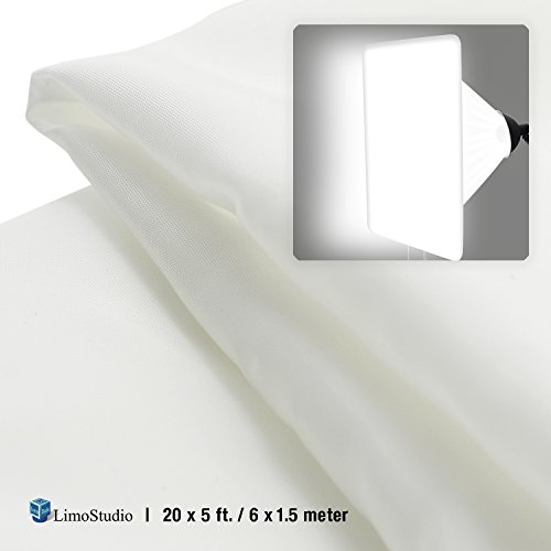 LimoStudio 20 x 5 feet / 6 x 1.5 Meter Seamless White Diffusion Fabric, DIY Softbox Lighting Tents, Soft Nylon Silk for Professional Photography Lighting, AGG2514