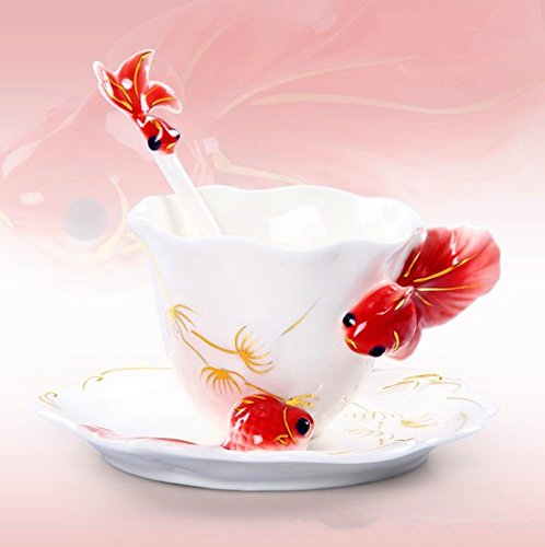 CANDACELL®Collectable Fine Arts China Porcelain Tea Cup and Saucer Coffee Cup Theme Romantic Creative Present/Rhinestone China Porcelain Tea Mug Coffee Cup and Saucer Set (Goldfish, Red)