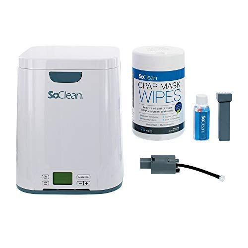 SoClean 2 CPAP Cleaner and Sanitizer Bundle with Adapter for Respironics DreamStation, 12 CPAP Filters, CPAP Hose and Pack of Mask Wipes