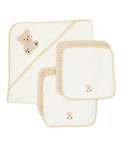 Spasilk 100% Cotton Hooded Terry Bath Towel with 4 Washcloths, Beige by Spasilk