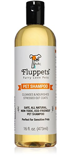 Fluppets Certified Organic Pet Shampoo, Hypoallergenic Non Toxic, 1 Bottle (Pet Shampoo 16 Oz Bottle)