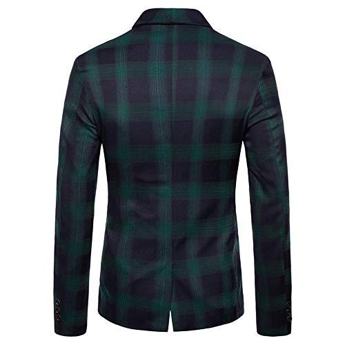 Jacket Autumn Plaid Mens Green Top Long Casual Blouse Men's Winter koiu❀❀Jackets Lapel Sleeve Give Fashion Suit X7wFRq