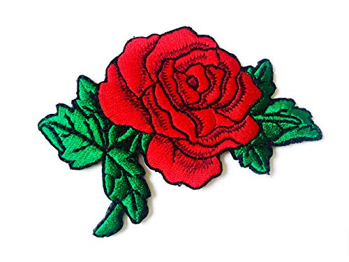 Tyga_Thai Brand Deep Red Rose Flower Love Logo Biker DIY Jacket T-Shirt Sew Iron on Embroidered Applique Badge Sign Patch Clothing etc. (Iron-Rose-Flower-RED)