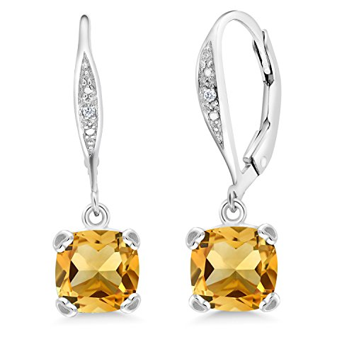 Gem Stone King 2.81 Ct Cushion Yellow Citrine White Diamond 925 Sterling Silver Earrings