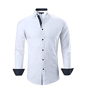 Alex Vando Mens Dress Shirts Cotton Casual Regular Fit Long Sleeve Collar Shirt