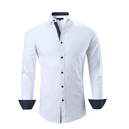 Alex Vando Mens Dress Shirts Regular Fit Long Sleeve Men Shirt(White,Large)