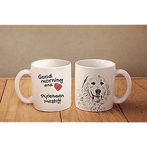 "Pyrenean Mastiff- a mug with a dog.""""Good morning and love."""". ceramic mug. NEW COLLECTION! Dog Lover Gift, Christmas Gift 37"