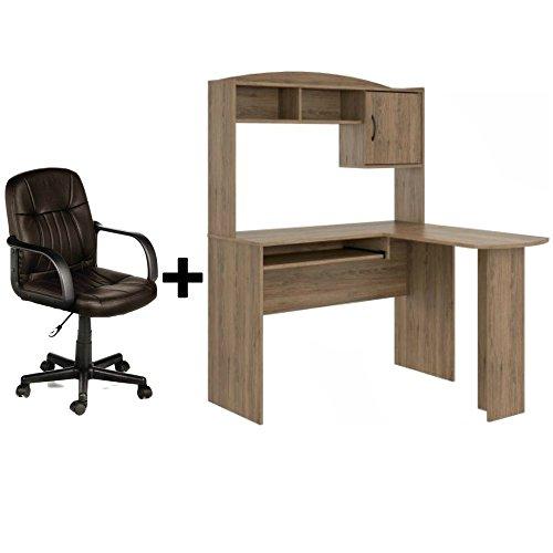 Leather Oak Desk (Corner L Shaped Wood Office Desk with Hutch in Rustic Oak + Leather Mid-Back Chair in Brown - Bundle Set)