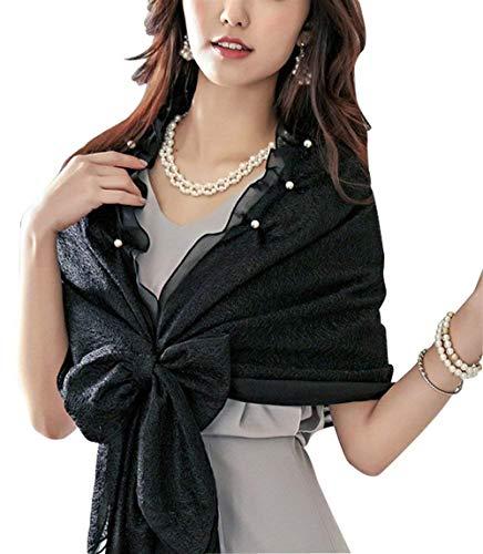 Mujer Bufanda Señoras Elegantes Moda Informales Bonita Hipster Hipster Poncho Color Sólido con Lazo Lindo Chic Volantes con Rosario Estolas Chal De Schwarz