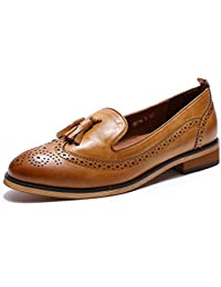 Leather Slip on Penny Loafer Casual Flat Shoes for Women Ladies Girls