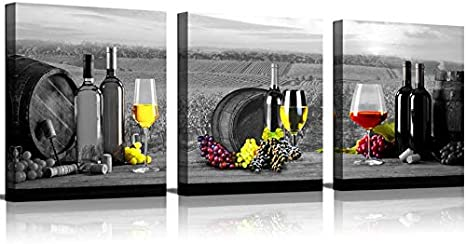 Amazon Com Kitchen Wall Art Decor Wine Painting Artwork Red Cups Green Grape Vineyard Black White Canvas Print Framed Pictures Grey For Home Decorations 3 Piece Posters Prints