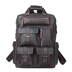 05e09491f8db1 Zenness Herren Vintage Style Echtes Leder-Rucksack-Rucksack für Schule
