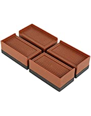 Bed Risers Heavy Duty 2 Inch Furniture Risers for Sofas Stackable Bed Lifts Risers for Bed Frame Wheels Couch, Bed Lifters for Chair Desk Leg Fridge, Lifts Up to 10000 Lbs (Brown Pack of 4)