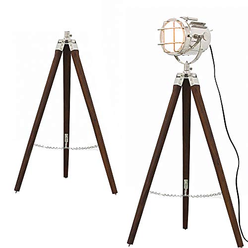 Hollywood Style Studio Floor Lamp Decorative Tripod Spotlight Nickel Chrome  Silver Polished And Brown Tripod