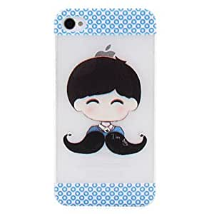TOPQQ Lovely Boy with Mustache Style Tie Pattern Untrathin PC Hard Case for iPhone 4/4S