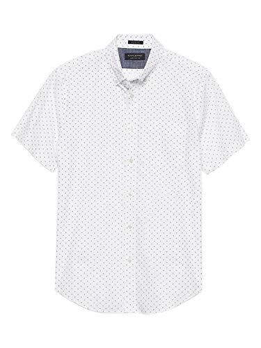 Banana Republic Mens Slim-Fit Soft Wash Short Sleeve Button Down Shirt White Diamond Printed -