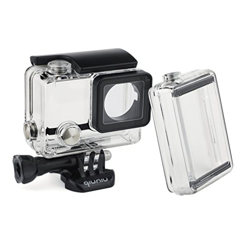 Standard Protective Waterproof Dive Housing Case for GoPro Hero 4, 3+, and 3 Camera and BacPac Backdoor for Extended LCD Screen or Expansion Battery - Up to 40 Meters Underwater - 4 Gopro Battery Hero Bacpac