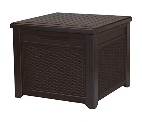 - Keter 233705 55 Gallon Outdoor Rattan Style Storage Cube Patio Table, 1 Pack, Brown (Renewed)