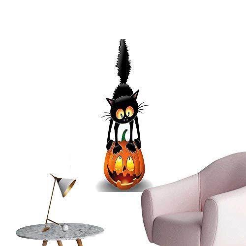 Wall Painting Black Cat on Pumpkin Head Spooky Cartoon Characters Halloween Humor Themed Art Orange High-Definition Design,20