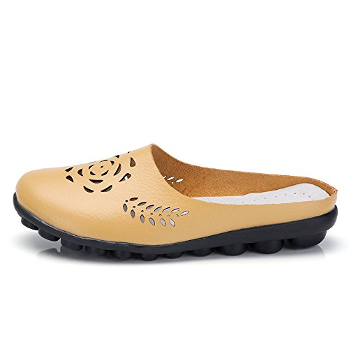 Shoes Dockers Boots - Respctful✿ Mule Flats Shoes for Women Casual Slip On Leather Comfortable Loafer Embroidery Flip Flop Sandals Yellow