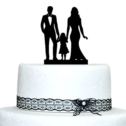 Amazoncom Buythrow Family Silhouette Wedding Cake Topper with Girl