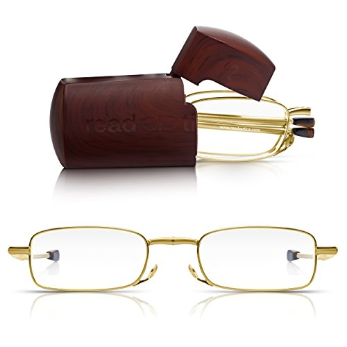 9d9312e328 Read Optics Gold Frame Pocket Glasses in Hard Travel Case +1.0 to 3.5   Patented Mens Womens Portable Folding Readers Spectacles with Collapsing  Telescopic ...