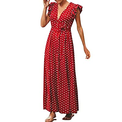JustWin Ladies Bohemian Dot Print Party Dress Ruffle Sleeveless V-Neck Party Sundress Casual Swing Summer Dress