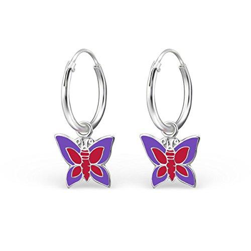 So Chic Bijoux © Enfant Boucles d'oreilles Papillon Email Couleur Argent 925