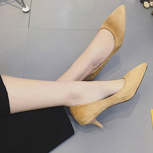 Transer Elegant High Heel Office Work Shoes - Women Nude Shallow Mouth Wedding Court Shoes Yellow 2tPS7