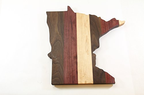 Handcrafted Wood Minnesota Cheese/Cutting Board. Purpleheart, Maple, Walnut & wood! Minnesota cutting board! Great gift! Party gift!